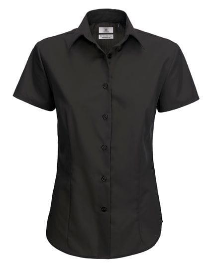 Poplin Shirt Smart Short Sleeve / Women Black