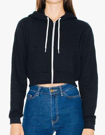 Women`s Flex Fleece Cropped Zip Hooded Sweatshirt Black