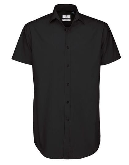Poplin Shirt Black Tie Short Sleeve / Men Black