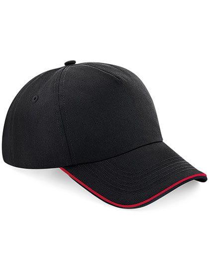 Authentic 5 Panel Cap - Piped Peak Black / Classic Red
