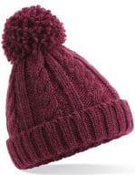 Junior Cable Knit Melange Beanie Burgundy