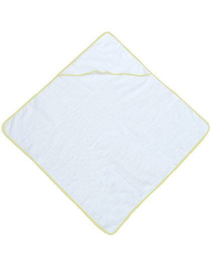 Piped Border Baby Towel With Hood Terry Lemon Yellow