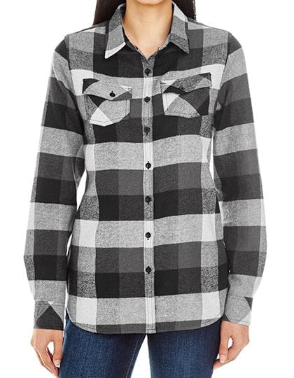 Women`s Woven Plaid Flannel Shirt Black Check