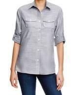 Ladies` Woven Texture Shirt Black (White Heather)