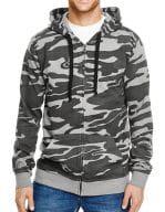 Full Zip Camo Hooded Fleece Jacket Black Camo