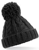 Infant Cable Knit Melange Beanie Black
