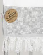 Hamamzz® Marmaris De Luxe Towel Light Grey / White