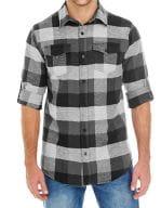 Woven Plaid Flannel Shirt Black Check