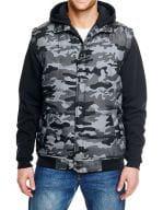 Hooded Fleece Sleeved Puffer Vest Black Camo / Black