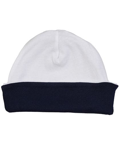 Baby Reversible Slouch Hat White / Nautical Navy